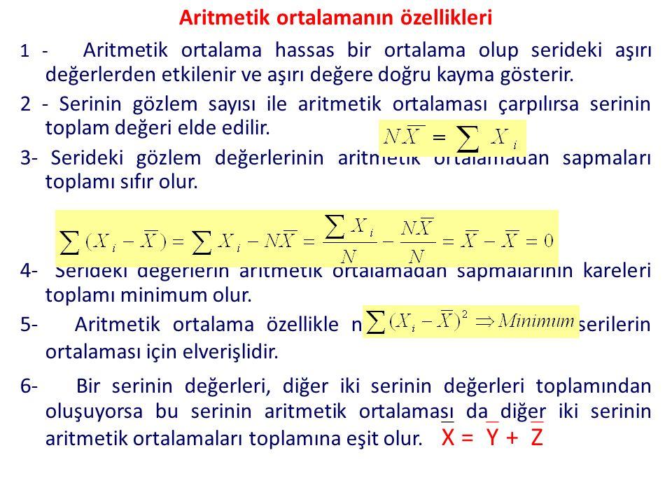 Aritmetik ortalamanın özellikleri 1 - Aritmetik ortalama hassas bir ortalama olup serideki aşırı değerlerden etkilenir ve aşırı değere doğru kayma gös