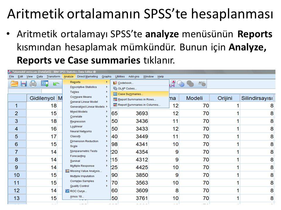 Aritmetik ortalamanın SPSS'te hesaplanması Aritmetik ortalamayı SPSS'te analyze menüsünün Reports kısmından hesaplamak mümkündür. Bunun için Analyze,