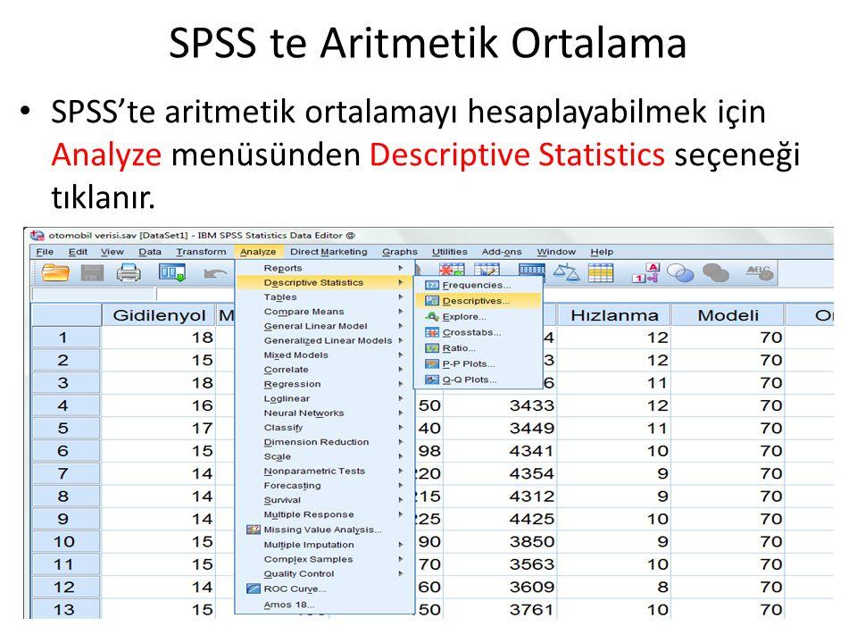 SPSS te Aritmetik Ortalama SPSS'te aritmetik ortalamayı hesaplayabilmek için Analyze menüsünden Descriptive Statistics seçeneği tıklanır.