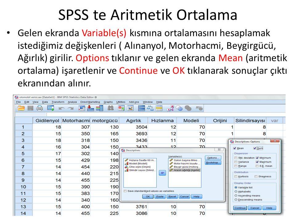 Gelen ekranda Variable(s) kısmına ortalamasını hesaplamak istediğimiz değişkenleri ( Alınanyol, Motorhacmi, Beygirgücü, Ağırlık) girilir. Options tıkl