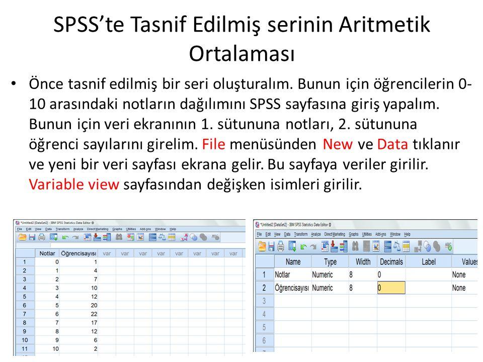 SPSS'te Tasnif Edilmiş serinin Aritmetik Ortalaması Önce tasnif edilmiş bir seri oluşturalım. Bunun için öğrencilerin 0- 10 arasındaki notların dağılı