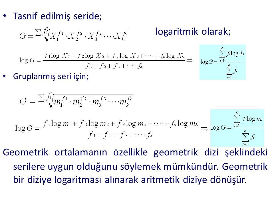 Tasnif edilmiş seride; logaritmik olarak; olur. Gruplanmış seri için; Geometrik ortalamanın özellikle geometrik dizi şeklindeki serilere uygun olduğun