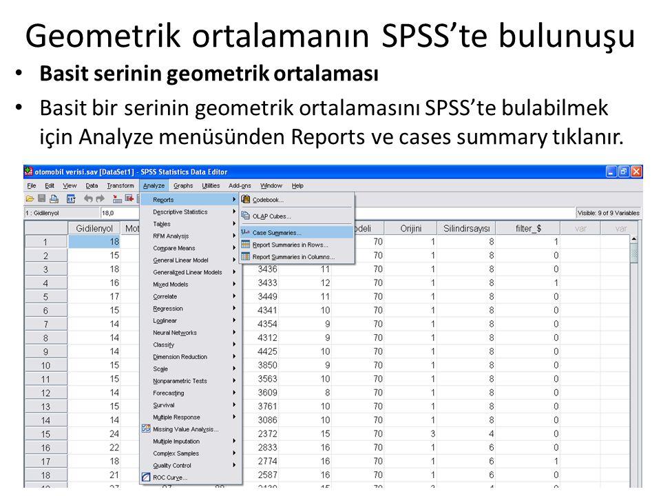 Geometrik ortalamanın SPSS'te bulunuşu Basit serinin geometrik ortalaması Basit bir serinin geometrik ortalamasını SPSS'te bulabilmek için Analyze men