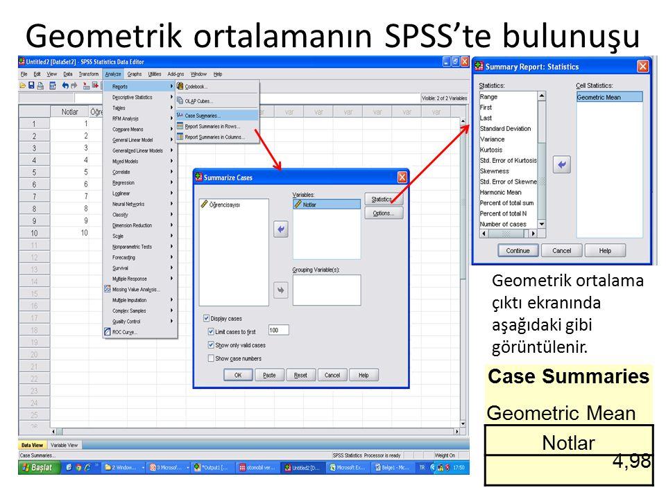 Geometrik ortalamanın SPSS'te bulunuşu Case Summaries Geometric Mean Notlar 4,98 Geometrik ortalama çıktı ekranında aşağıdaki gibi görüntülenir.