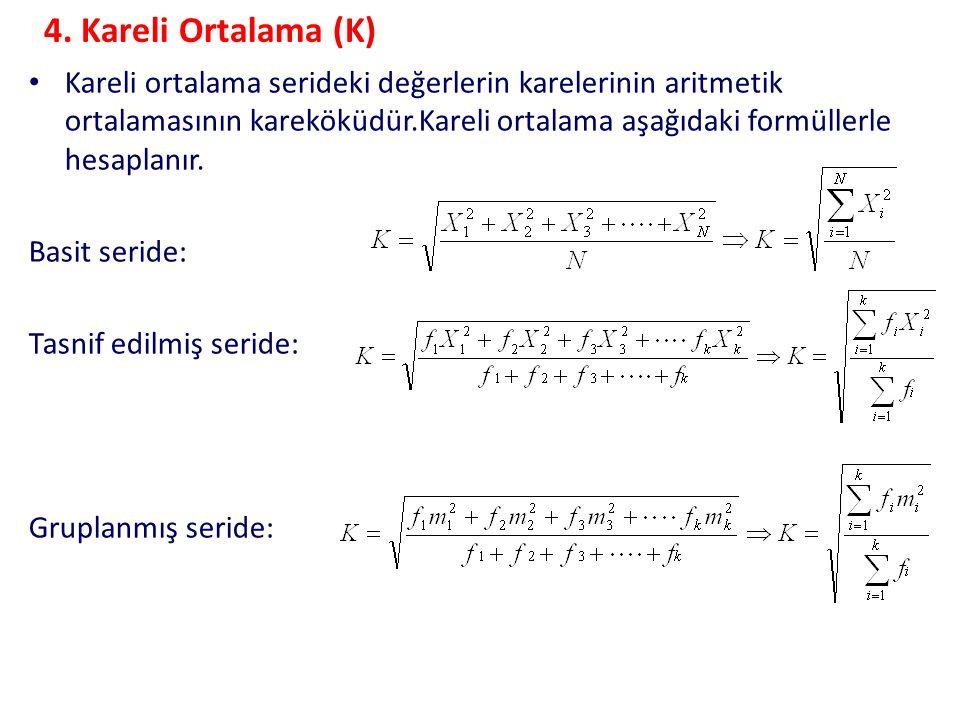 4. Kareli Ortalama (K) Kareli ortalama serideki değerlerin karelerinin aritmetik ortalamasının kareköküdür.Kareli ortalama aşağıdaki formüllerle hesap