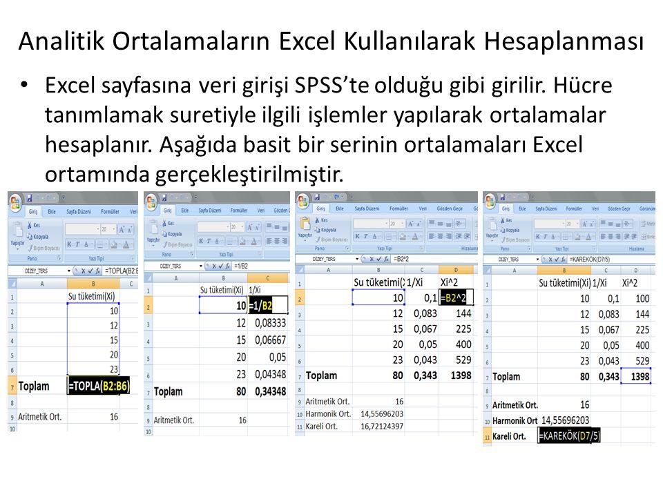 Analitik Ortalamaların Excel Kullanılarak Hesaplanması Excel sayfasına veri girişi SPSS'te olduğu gibi girilir. Hücre tanımlamak suretiyle ilgili işle