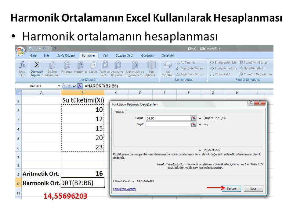 Harmonik ortalamanın hesaplanması Harmonik Ortalamanın Excel Kullanılarak Hesaplanması 14,55696203