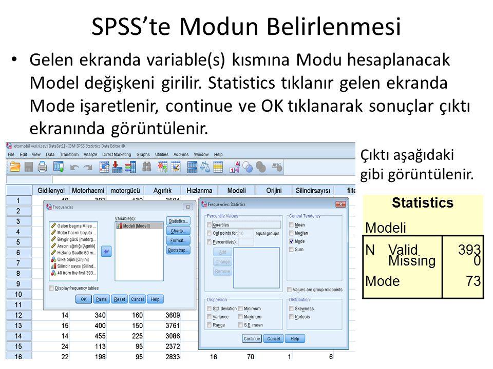 Gelen ekranda variable(s) kısmına Modu hesaplanacak Model değişkeni girilir. Statistics tıklanır gelen ekranda Mode işaretlenir, continue ve OK tıklan