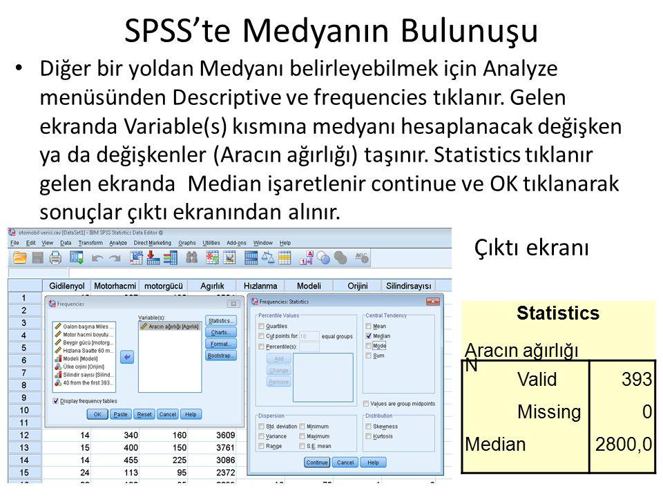 Diğer bir yoldan Medyanı belirleyebilmek için Analyze menüsünden Descriptive ve frequencies tıklanır. Gelen ekranda Variable(s) kısmına medyanı hesapl