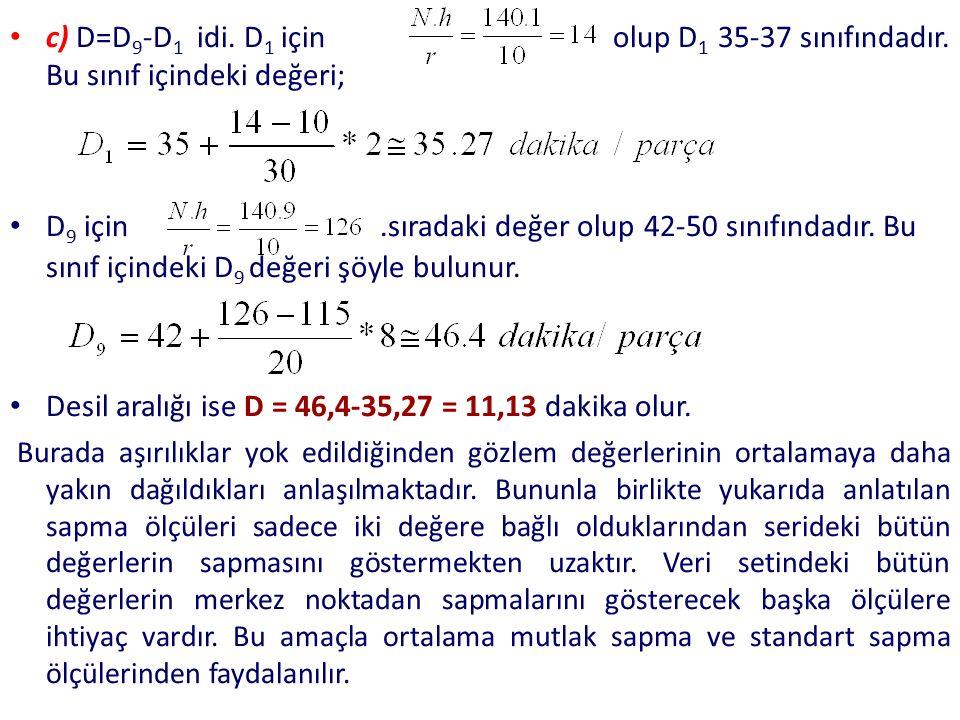 c) D=D 9 -D 1 idi. D 1 için olup D 1 35-37 sınıfındadır. Bu sınıf içindeki değeri; D 9 için.sıradaki değer olup 42-50 sınıfındadır. Bu sınıf içindeki
