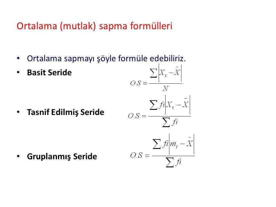 Ortalama (mutlak) sapma formülleri Ortalama sapmayı şöyle formüle edebiliriz. Basit Seride Tasnif Edilmiş Seride Gruplanmış Seride
