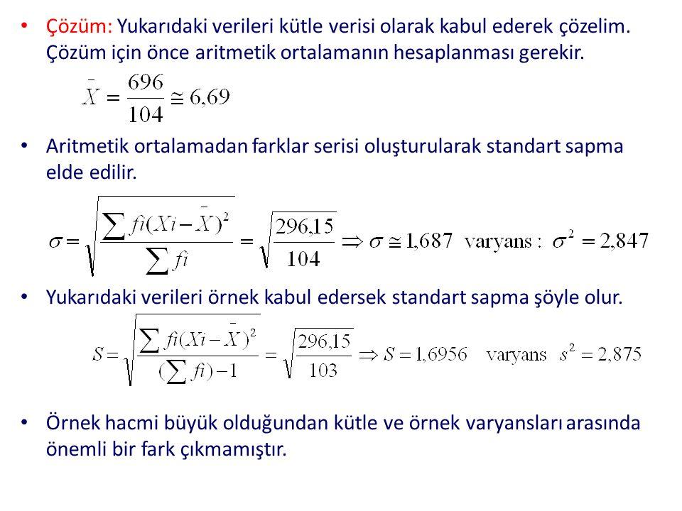 Çözüm: Yukarıdaki verileri kütle verisi olarak kabul ederek çözelim. Çözüm için önce aritmetik ortalamanın hesaplanması gerekir. Aritmetik ortalamadan