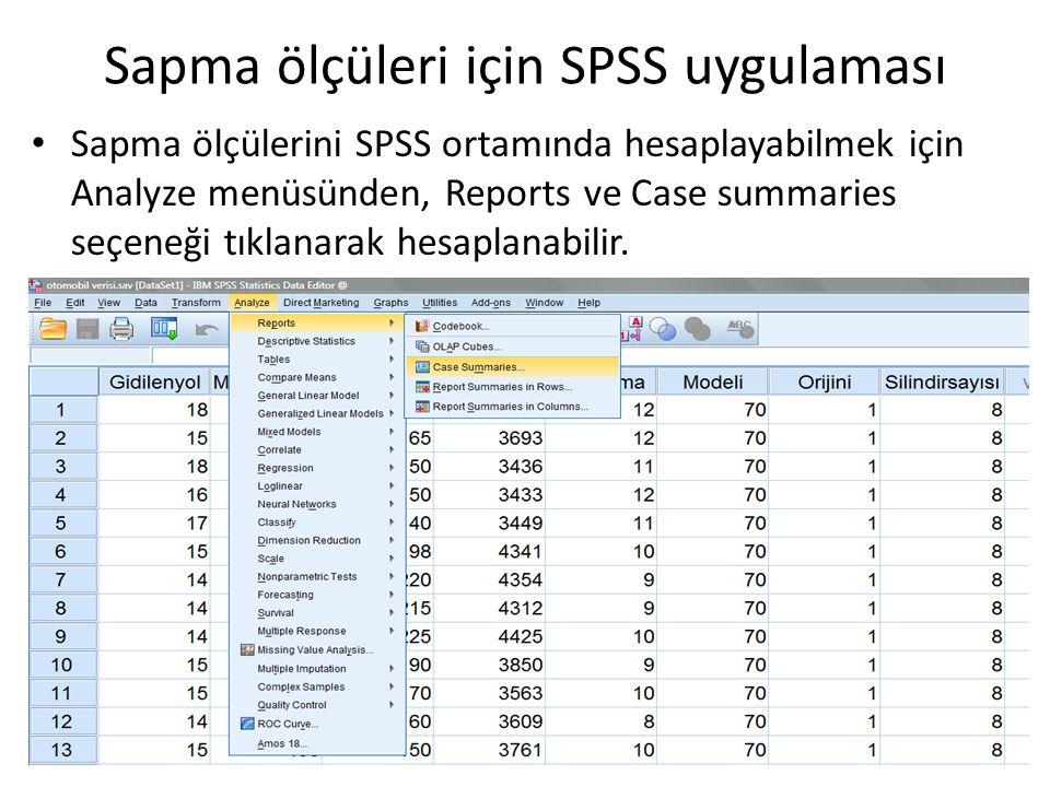 Sapma ölçüleri için SPSS uygulaması Sapma ölçülerini SPSS ortamında hesaplayabilmek için Analyze menüsünden, Reports ve Case summaries seçeneği tıklan