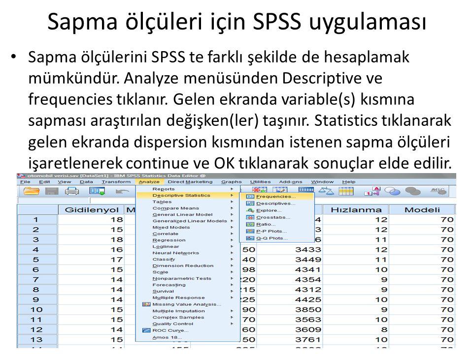 Sapma ölçülerini SPSS te farklı şekilde de hesaplamak mümkündür. Analyze menüsünden Descriptive ve frequencies tıklanır. Gelen ekranda variable(s) kıs