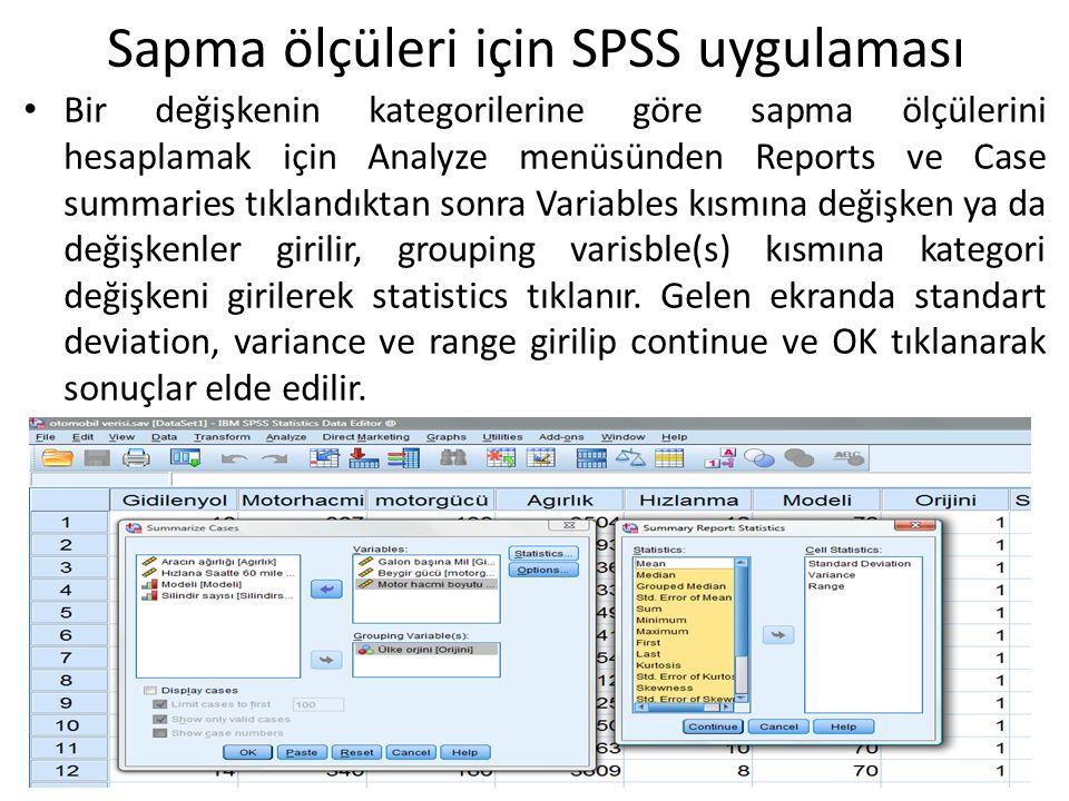 Bir değişkenin kategorilerine göre sapma ölçülerini hesaplamak için Analyze menüsünden Reports ve Case summaries tıklandıktan sonra Variables kısmına