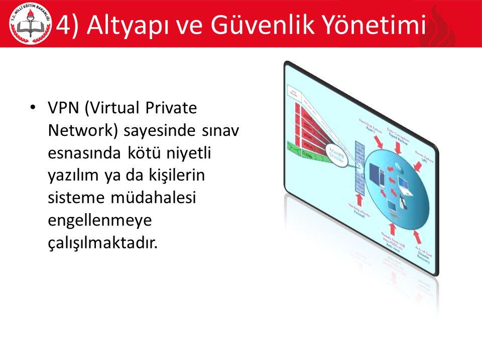 4) Altyapı ve Güvenlik Yönetimi VPN (Virtual Private Network) sayesinde sınav esnasında kötü niyetli yazılım ya da kişilerin sisteme müdahalesi engellenmeye çalışılmaktadır.