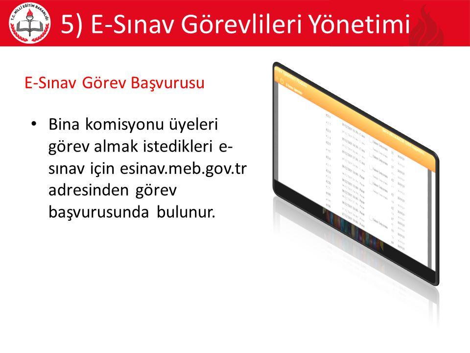 5) E-Sınav Görevlileri Yönetimi Bina komisyonu üyeleri görev almak istedikleri e- sınav için esinav.meb.gov.tr adresinden görev başvurusunda bulunur.