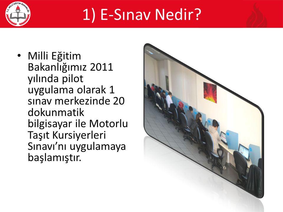 1) E-Sınav Nedir? Milli Eğitim Bakanlığımız 2011 yılında pilot uygulama olarak 1 sınav merkezinde 20 dokunmatik bilgisayar ile Motorlu Taşıt Kursiyerl