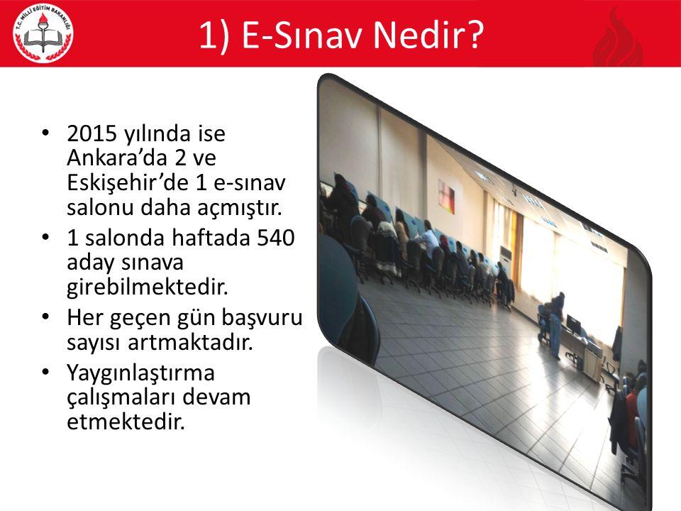 1) E-Sınav Nedir? 2015 yılında ise Ankara'da 2 ve Eskişehir'de 1 e-sınav salonu daha açmıştır. 1 salonda haftada 540 aday sınava girebilmektedir. Her