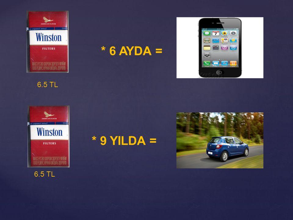 * 6 AYDA = 6.5 TL * 9 YILDA =