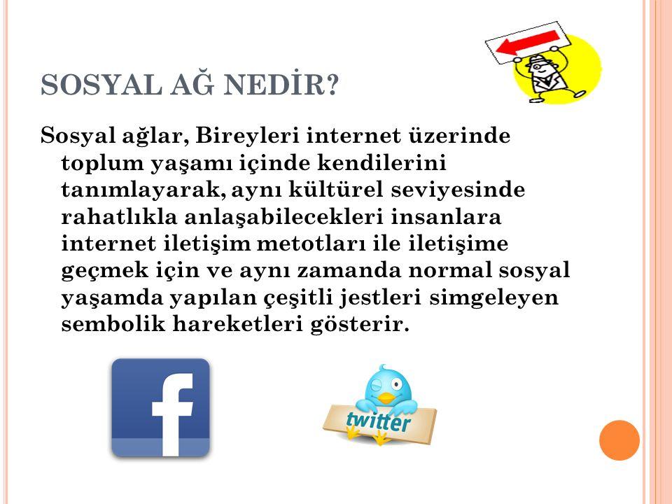 SOSYAL AĞ NEDİR? Sosyal ağlar, Bireyleri internet üzerinde toplum yaşamı içinde kendilerini tanımlayarak, aynı kültürel seviyesinde rahatlıkla anlaşab