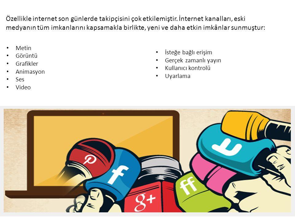 Metin Görüntü Grafikler Animasyon Ses Video Özellikle internet son günlerde takipçisini çok etkilemiştir.