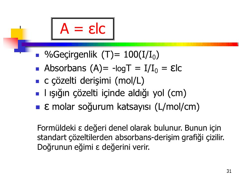 31 %Geçirgenlik (T)= 100(I/I 0 ) Absorbans (A)= - log T = I/I 0 = ε lc c çözelti derişimi (mol/L) l ışığın çözelti içinde aldığı yol (cm) ε molar soğurum katsayısı (L/mol/cm) A = εlc Formüldeki ε değeri denel olarak bulunur.