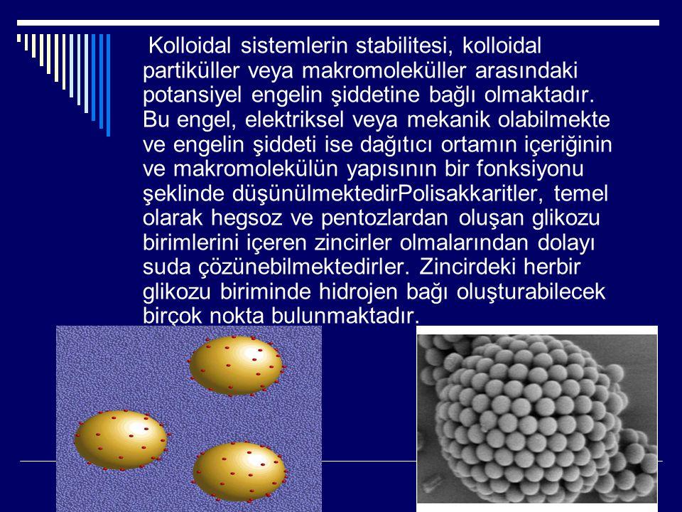 Kolloidal sistemlerin stabilitesi, kolloidal partiküller veya makromoleküller arasındaki potansiyel engelin şiddetine bağlı olmaktadır. Bu engel, elek