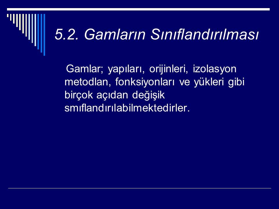 5.2. Gamların Sınıflandırılması Gamlar; yapıları, orijinleri, izolasyon metodlan, fonksiyonları ve yükleri gibi birçok açıdan değişik smıflandırılabil