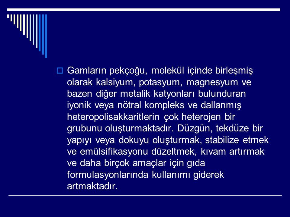 Doğal gamlar Doğal gamlar kimyasal yapıları açısından; 1.