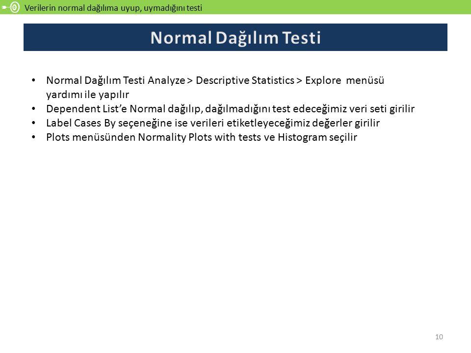 Verilerin normal dağılıma uyup, uymadığını testi 10 Normal Dağılım Testi Analyze > Descriptive Statistics > Explore menüsü yardımı ile yapılır Dependent List'e Normal dağılıp, dağılmadığını test edeceğimiz veri seti girilir Label Cases By seçeneğine ise verileri etiketleyeceğimiz değerler girilir Plots menüsünden Normality Plots with tests ve Histogram seçilir