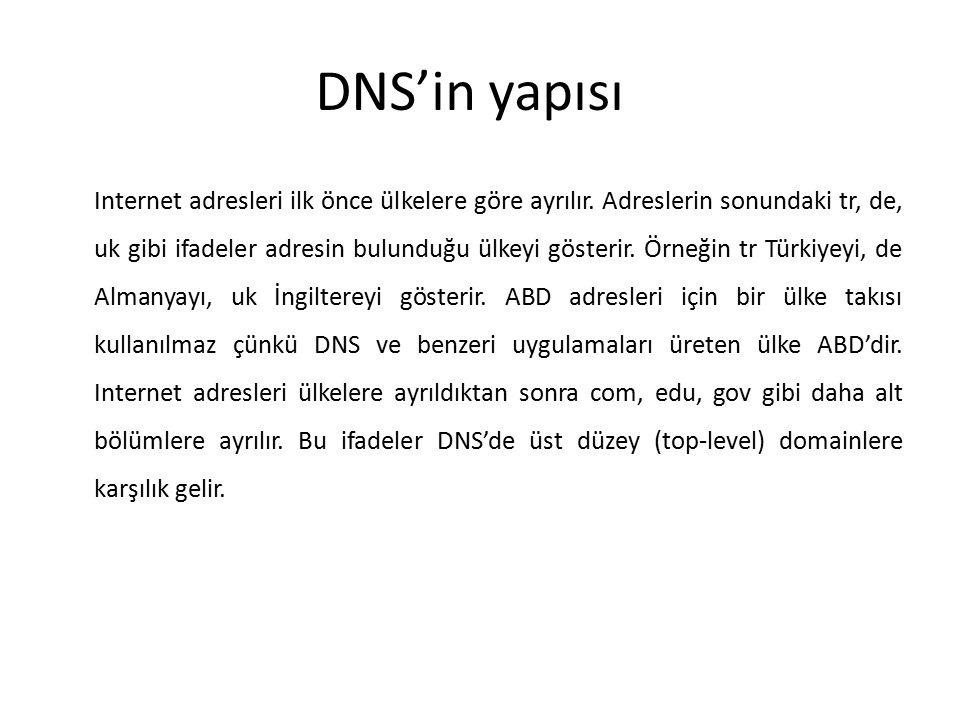 DNS'in yapısı Internet adresleri ilk önce ülkelere göre ayrılır. Adreslerin sonundaki tr, de, uk gibi ifadeler adresin bulunduğu ülkeyi gösterir. Örne