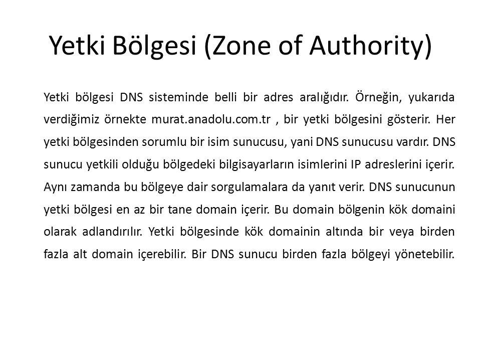 Yetki Bölgesi (Zone of Authority) Yetki bölgesi DNS sisteminde belli bir adres aralığıdır. Örneğin, yukarıda verdiğimiz örnekte murat.anadolu.com.tr,
