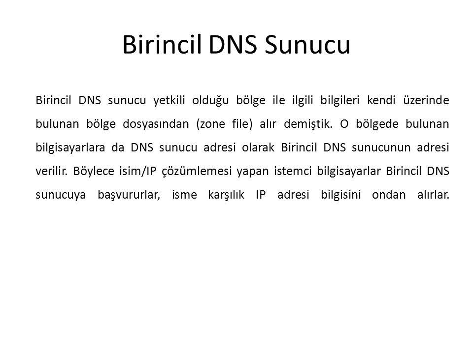 Birincil DNS Sunucu Birincil DNS sunucu yetkili olduğu bölge ile ilgili bilgileri kendi üzerinde bulunan bölge dosyasından (zone file) alır demiştik.