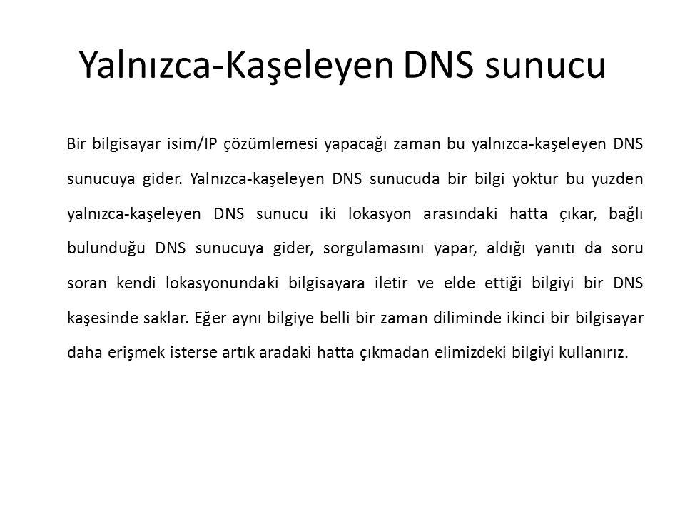 Yalnızca-Kaşeleyen DNS sunucu Bir bilgisayar isim/IP çözümlemesi yapacağı zaman bu yalnızca-kaşeleyen DNS sunucuya gider. Yalnızca-kaşeleyen DNS sunuc