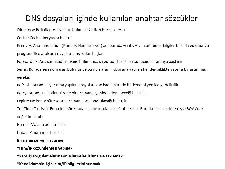 DNS dosyaları içinde kullanılan anahtar sözcükler Directory: Belirtilen dosyaların bulunacağı dizin burada verilir. Cache: Cache dos yasını belirtir.