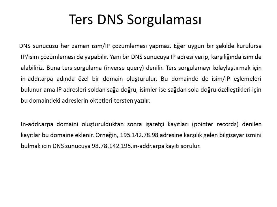 Ters DNS Sorgulaması DNS sunucusu her zaman isim/IP çözümlemesi yapmaz. Eğer uygun bir şekilde kurulursa IP/isim çözümlemesi de yapabilir. Yani bir DN