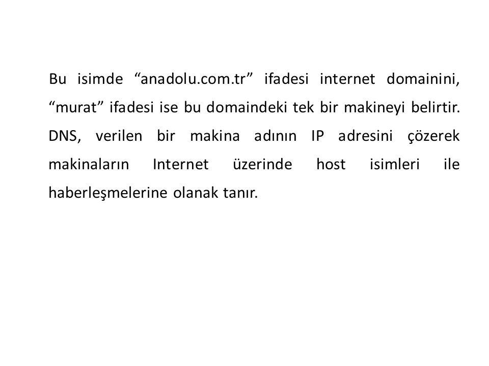 """Bu isimde """"anadolu.com.tr"""" ifadesi internet domainini, """"murat"""" ifadesi ise bu domaindeki tek bir makineyi belirtir. DNS, verilen bir makina adının IP"""