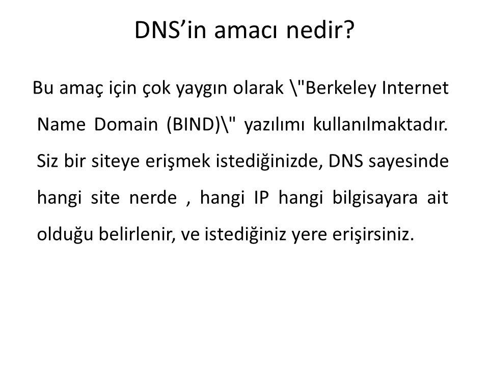 DNS'in amacı nedir? Bu amaç için çok yaygın olarak \