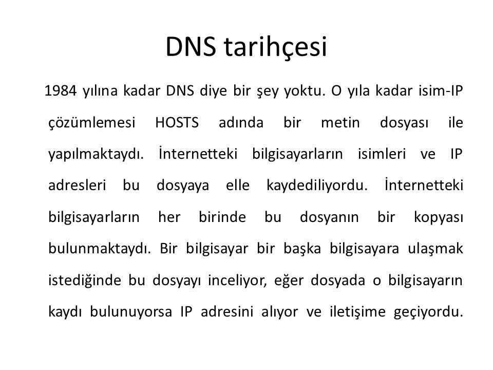 DNS tarihçesi 1984 yılına kadar DNS diye bir şey yoktu. O yıla kadar isim-IP çözümlemesi HOSTS adında bir metin dosyası ile yapılmaktaydı. İnternettek