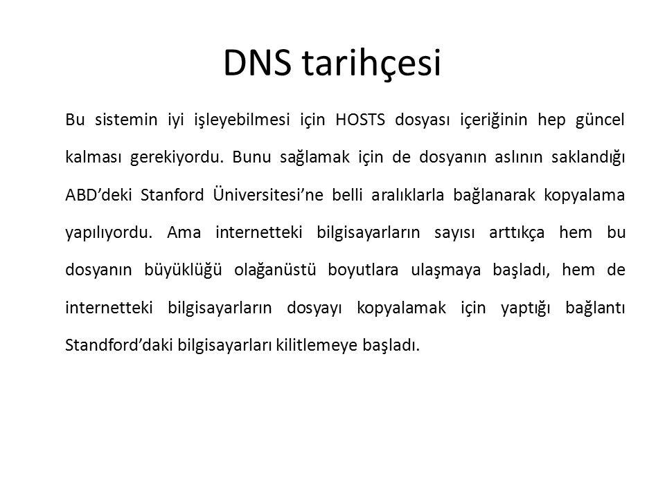 DNS tarihçesi Bu sistemin iyi işleyebilmesi için HOSTS dosyası içeriğinin hep güncel kalması gerekiyordu. Bunu sağlamak için de dosyanın aslının sakla