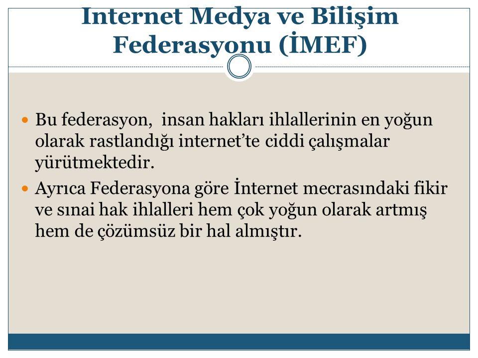 Internet Medya ve Bilişim Federasyonu (İMEF) Bu federasyon, insan hakları ihlallerinin en yoğun olarak rastlandığı internet'te ciddi çalışmalar yürütm