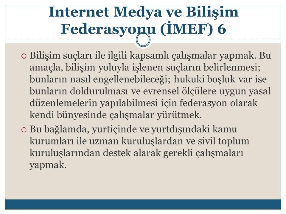 Internet Medya ve Bilişim Federasyonu (İMEF) 6  Bilişim suçları ile ilgili kapsamlı çalışmalar yapmak. Bu amaçla, bilişim yoluyla işlenen suçların be