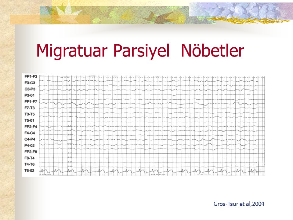 Migratuar Parsiyel Nöbetler Gros-Tsur et al,2004