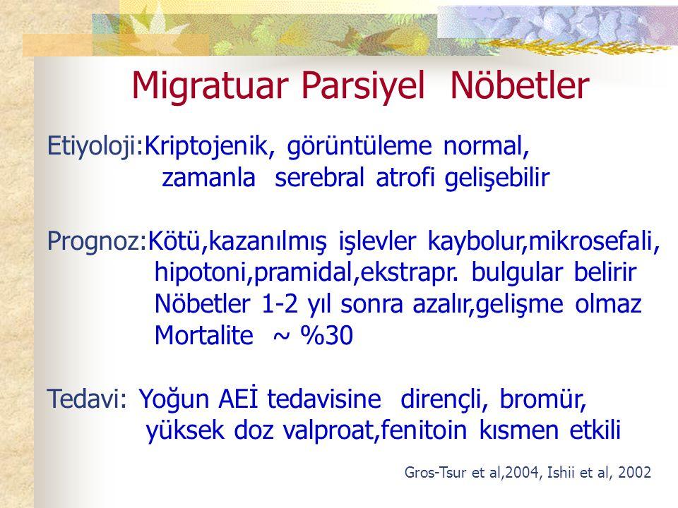 Migratuar Parsiyel Nöbetler Etiyoloji:Kriptojenik, görüntüleme normal, zamanla serebral atrofi gelişebilir Prognoz:Kötü,kazanılmış işlevler kaybolur,mikrosefali, hipotoni,pramidal,ekstrapr.