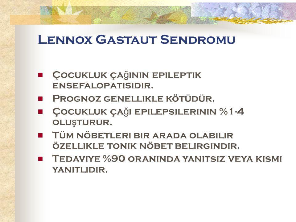 Lennox Gastaut Sendromu Çocukluk ça ğ ının epileptik ensefalopatisidir.