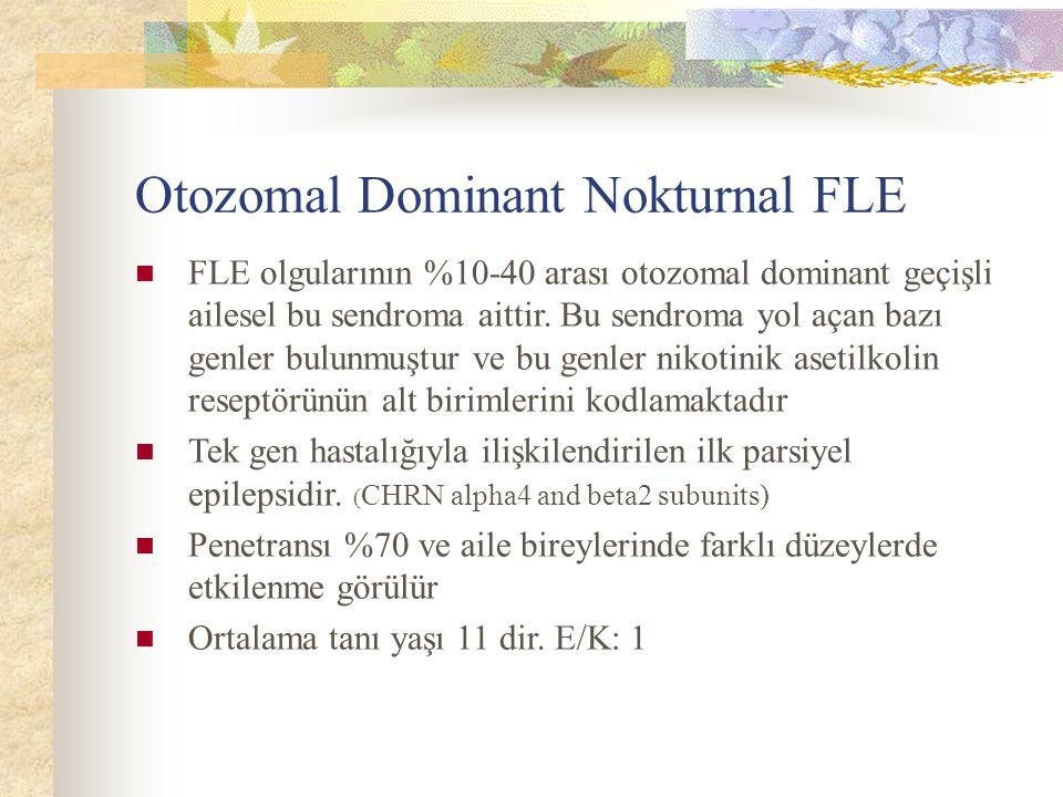 Otozomal Dominant Nokturnal FLE FLE olgularının %10-40 arası otozomal dominant geçişli ailesel bu sendroma aittir.