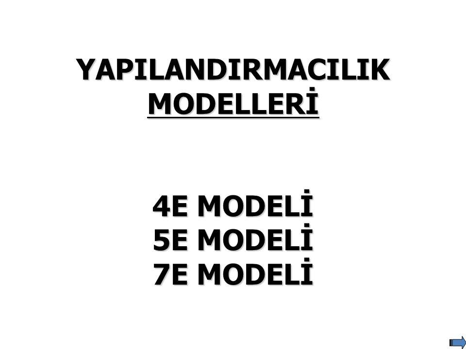 YAPILANDIRMACILIK MODELLERİ 4E MODELİ 5E MODELİ 7E MODELİ