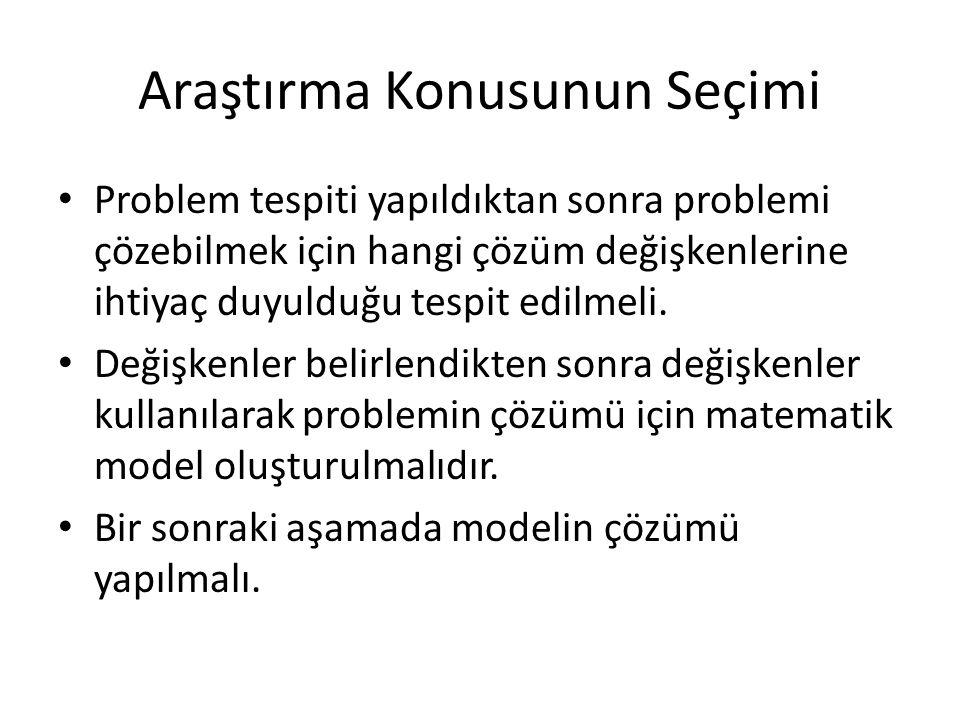 Araştırma Konusunun Seçimi Problem tespiti yapıldıktan sonra problemi çözebilmek için hangi çözüm değişkenlerine ihtiyaç duyulduğu tespit edilmeli. De