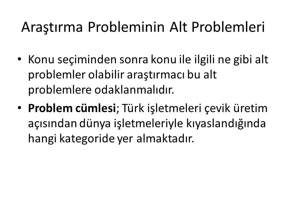 Araştırma Probleminin Alt Problemleri Konu seçiminden sonra konu ile ilgili ne gibi alt problemler olabilir araştırmacı bu alt problemlere odaklanmalı